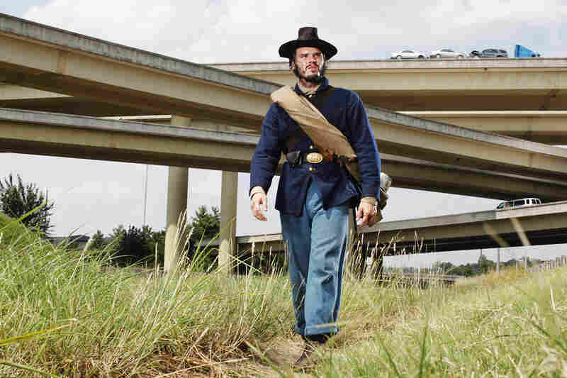 Pope on the Nashville battlefield. The interstate is right on top of what was the Southerners' first battle line.