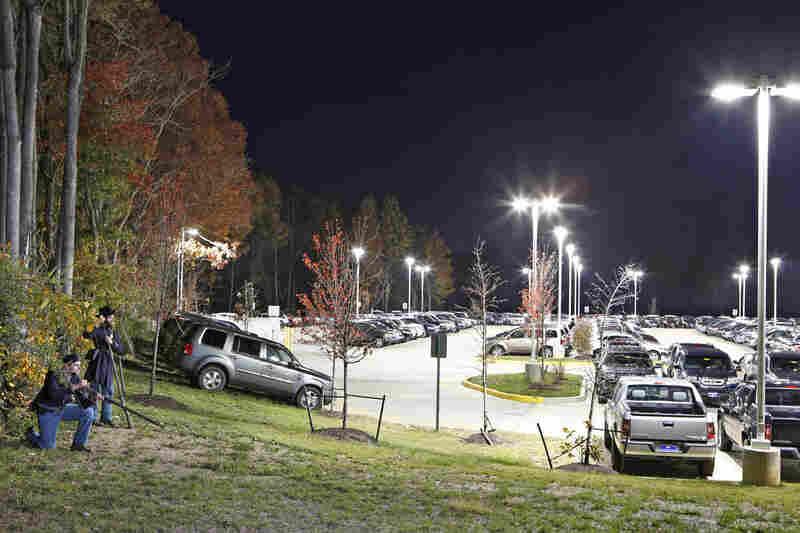 Prillaman and Feito outside a Honda dealership on what was a Federal campsite near Fredericksburg, Va.