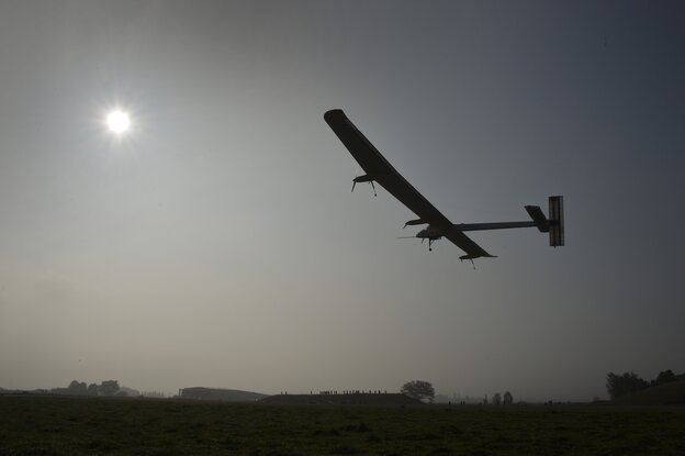The Swiss sun-powered aircraft Solar Impulse takes off on Thursday in Payerne on its first attempted intercontine