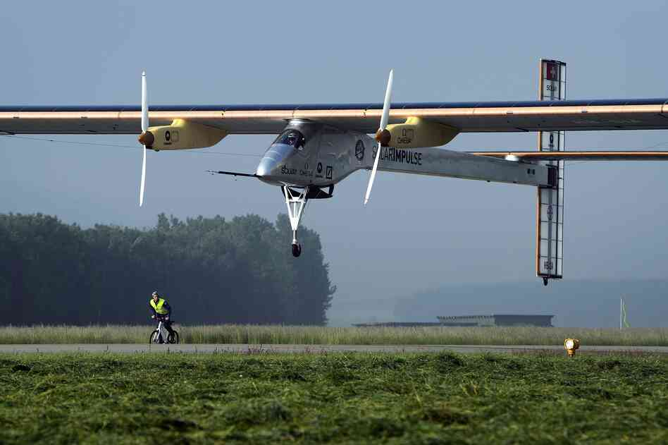 The Swiss sun-powered aircraft Solar Impulse takes off on Thursday.