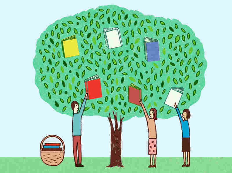 Illustration: Booksellers pick books from a tree.
