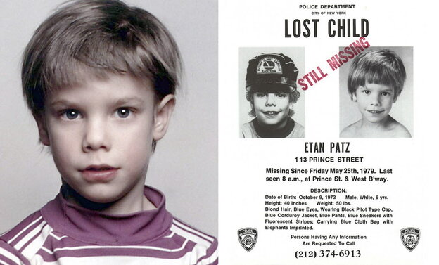 """Etan Patz, and the """"lost child"""" poster issued after his 1979 disappearance."""