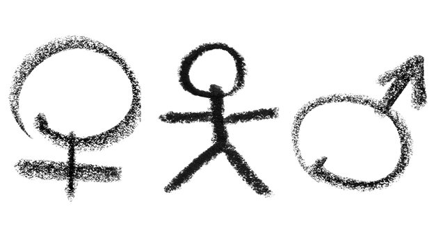 Graphic: A stick figure with male and female symbols on either side.
