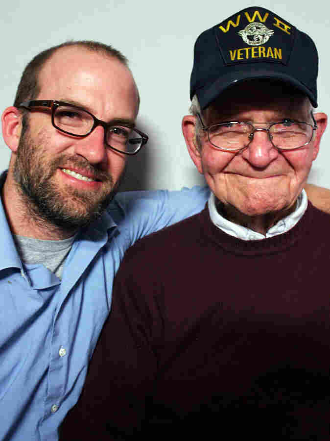 Harrison Wright, 88, with his grandson Sean Guess, 36, at StoryCorps in Austin, Texas.