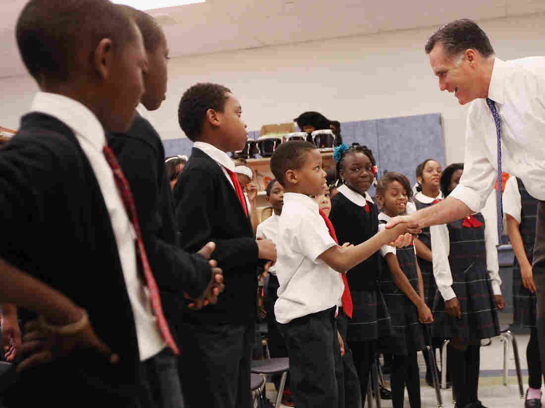 Mitt Romney with charter-school students in West Philadelphia, a section of the city where some people had never heard of him.