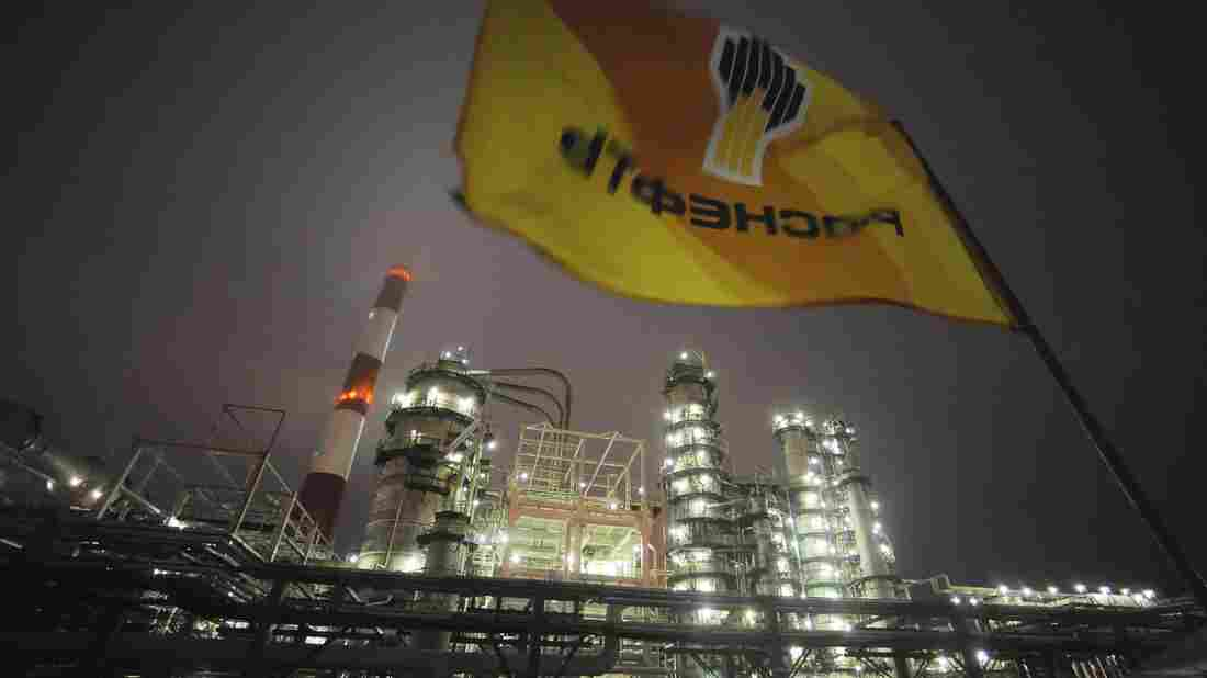A Rosneft flag flies over the Russian oil giant's refinery near the city of Samara. Growth of Russia's oil and gas output has stalled, but Exxon Mobil and other foreign firms have signed deals to help exploit the Arctic.