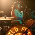 Wild Flag (and former Sleater-Kinney) drummer Janet Weiss, performing live at the NPR Music day party, during the South by Southwest Music Festival in Austin, TX.