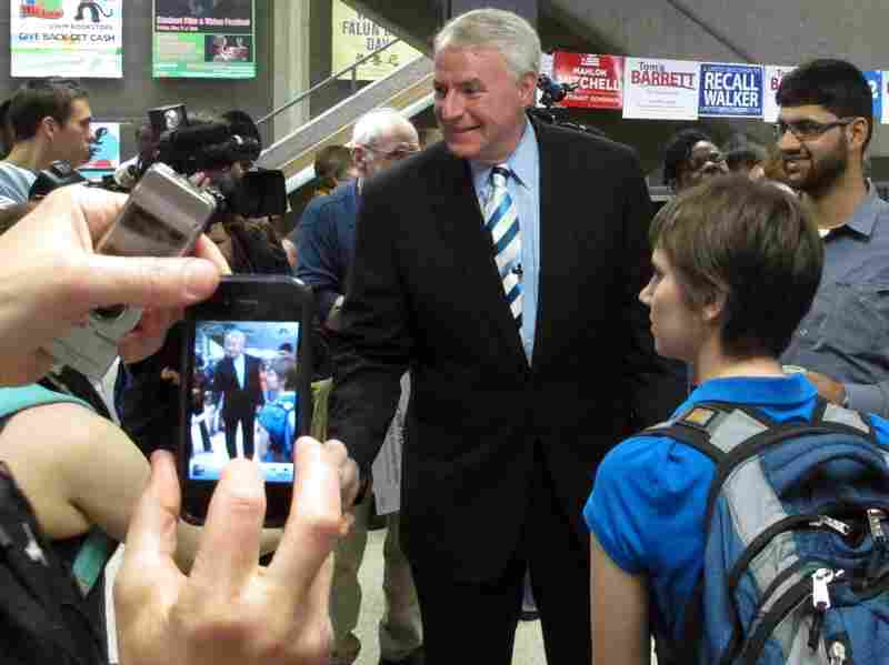 Democratic Milwaukee Mayor Tom Barrett campaigns earlier this month in Milwaukee.