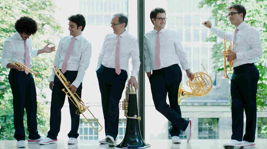"""""""Given that we were brass players when we started out, we had a very tall hill to climb just to get people interested in our music,"""" says Canadian Brass founding member Chuck Daellenbach (center)."""