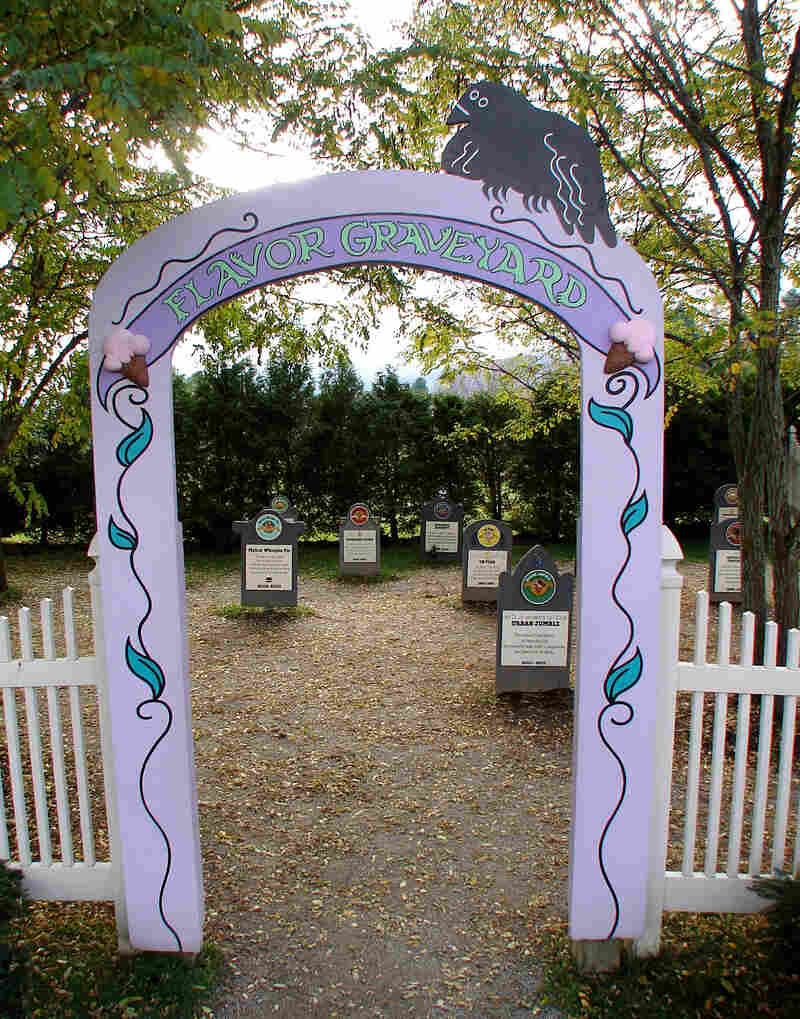 """Headstones in Ben and Jerry's """"Flavor Graveyard"""" are dedicated to bygone favorites such as Oh Pear (1997), Makin' Whoopie Pie (2002-2003), and Urban Jumble (2000-2001). Click the enlargement for a detailed view."""