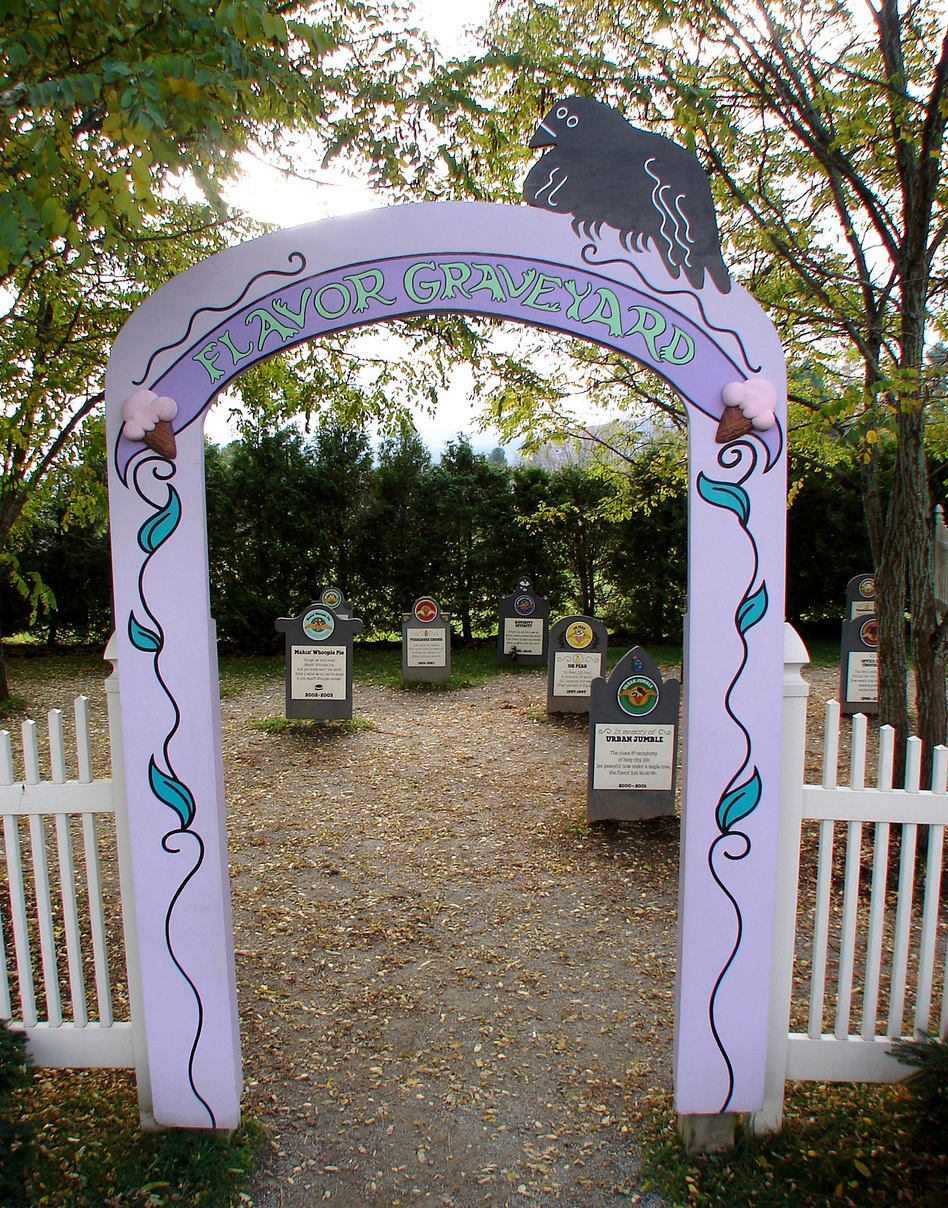 """Headstones in Ben and Jerry's """"Flavor Graveyard"""" are dedicated to bygone favorites such as Oh Pear (1997), Makin' Whoopie Pie (2002-2003), and Urban Jumble (2000-2001). Click the enlargement for a detailed view. (Ben and Jerry's)"""
