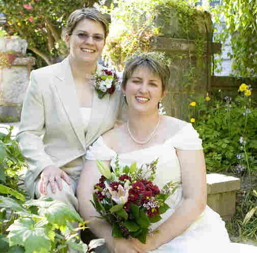 Libby Hodges (left) and Melissa Hodges at their 2006 wedding in Vancouver, British Columbia. The marriage is not recognized as legal in North Carolina.