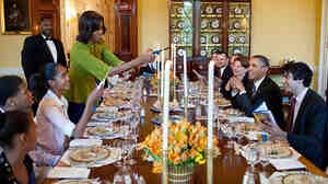 The Obamas host a Passover Seder for family, staff and friends at the White House on April 6.