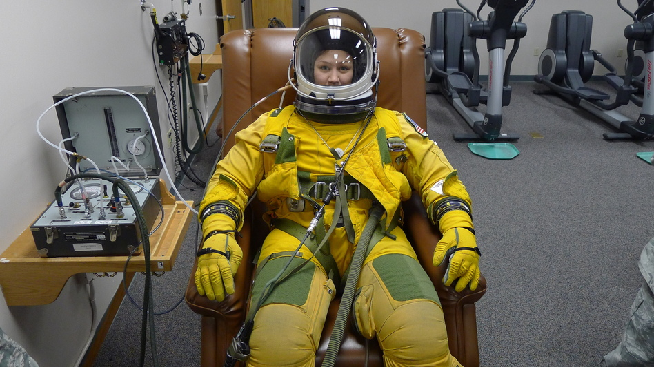 Because U-2s fly at such high altitudes, pilots must wear full spacesuits in case of a leak in the pressurized cockpit. (NPR)