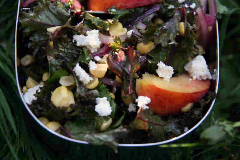 Kale, Peach, Corn And Feta Salad