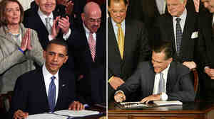 President Obama is applauded after signing the health care overhaul during a ceremony in the White House on March 23, 2010. Then-Gov. Mitt Romney signs
