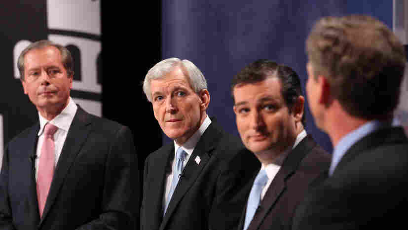 Republican candidates for U.S. Senate (from left) Lt. Gov. David Dewhurst, former Dallas Mayor Tom Leppert and former Texas Solicitor General Ted Cruz participate in a debate on April 13 in Dallas.