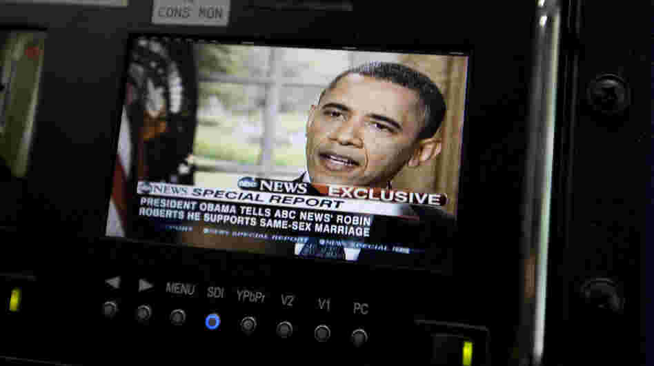 President Obama is seen on a monitor in the White House briefing room May 9. In an interview with ABC, he said he supports gay marriage.