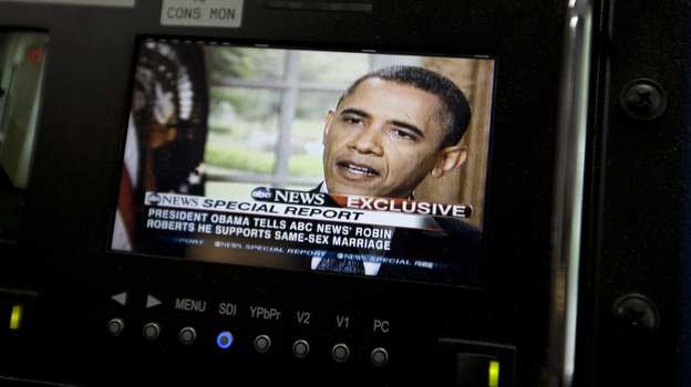 President Obama is seen on a monitor in the White House briefing room May 9. In an interview with ABC, he said he supports gay marriage. (AP)