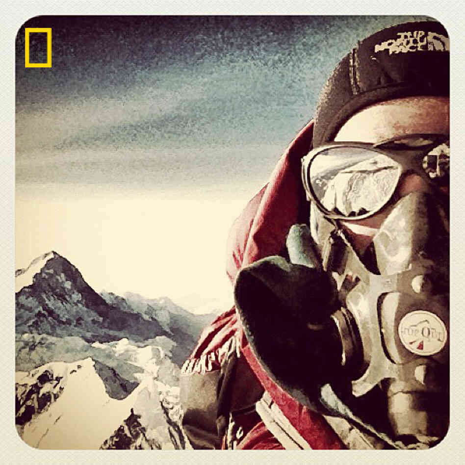 A self-portrait by climber Emily Harrington atop Mount Everest.