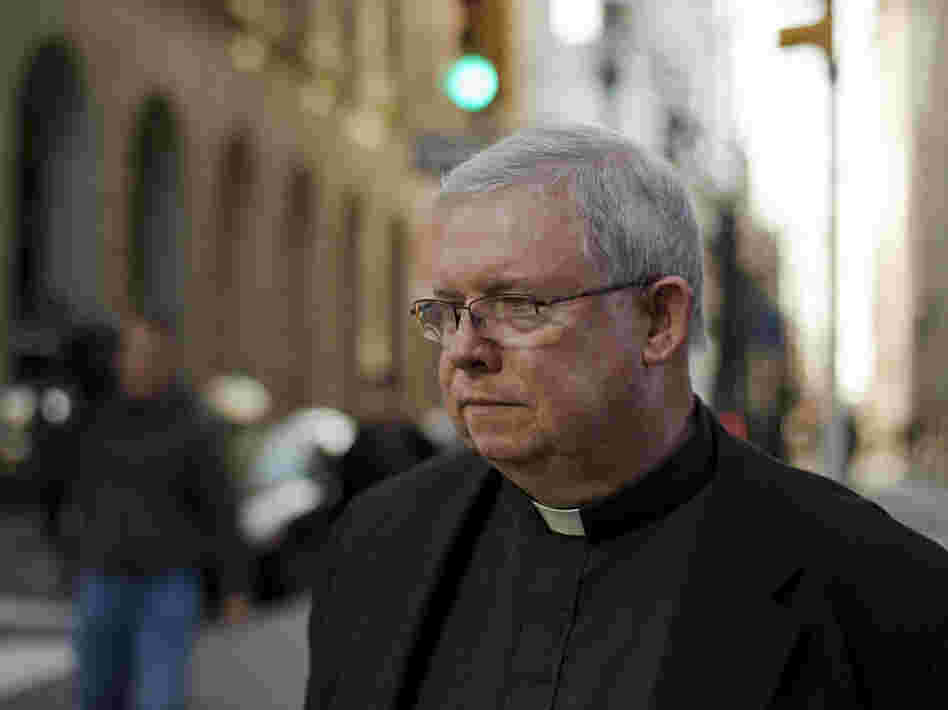 Monsignor William Lynn leaves the Criminal Justice Center in Philadelphia in March. When he finally took to the stand after two months of testimony, the prosecutor called him a liar over and over.