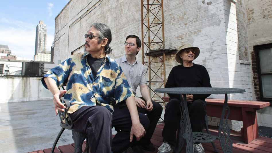 Left to right: Masabumi Kikuchi, Thomas Morgan, Paul Motian. (John Rogers)