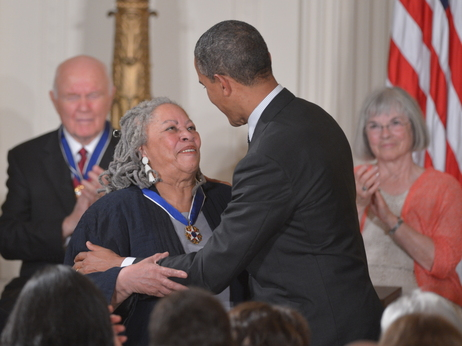 President Obama presents the Presidential Medal of Freedom to author Toni Morrisson during a ceremony in the East Room of the White House in Washington.