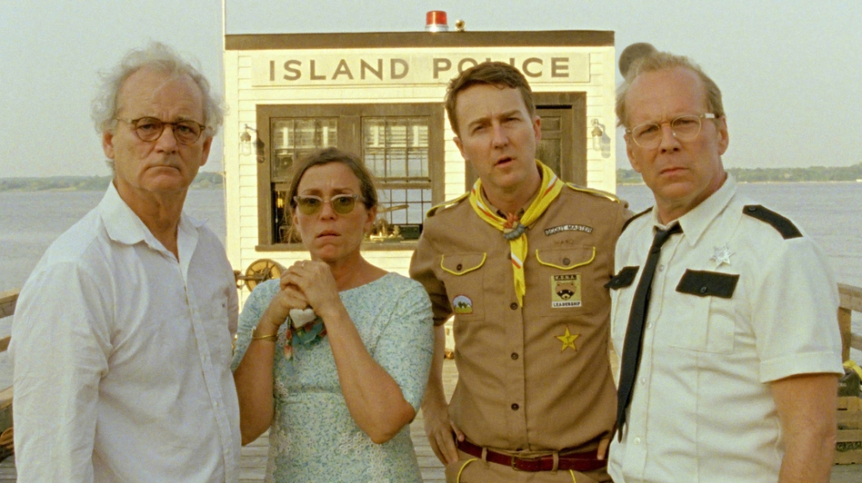 Bill Murray, Frances McDormand, Edward Norton and Bruce Willis star in the film — the story of a 12-year-old girl and boy who merge their imaginative worlds on an island off the coast of New England. (Focus Features)