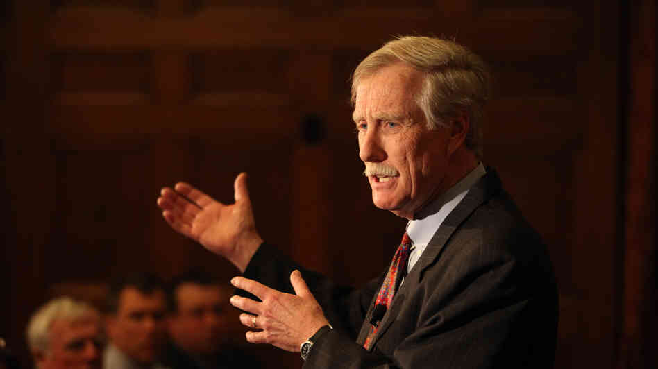 Former Maine Gov. Angus King speaks March 5 at Bowdoin College in Brunswick, Maine.