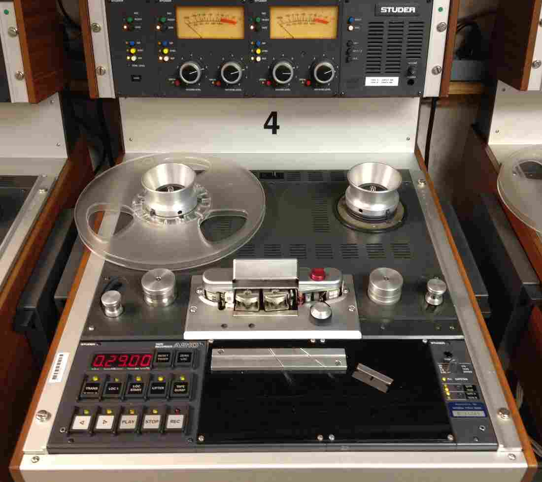 A reel-to-reel tape player