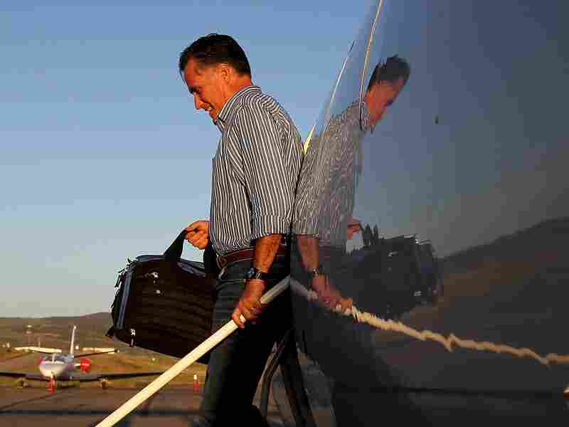 Republican presidential candidate, former Massachusetts Gov. Mitt Romney walks off of his campaign plane at Yampa Valley Airport on May 28, 2012 in Yampa, Colorado.