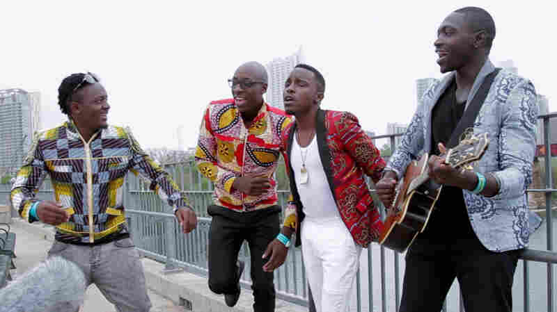 Sauti Sol performs for a Field Recording on the Pfluger Pedestrian Bridge in Austin, Texas, during SXSW 2012