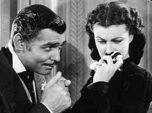 In mourning: Scarlett broods while Rhett Butler (Clark Gable)