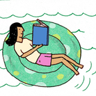 Illustration: Girl reading in an innertube.