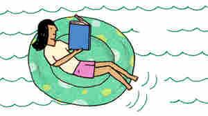 Illustration: Girl reading in an innertube.