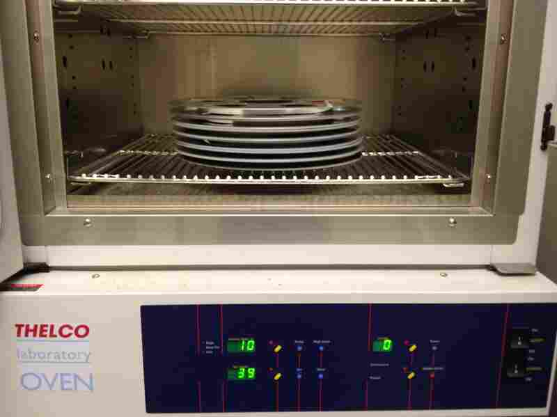 Reel-to-reel audio tapes are placed in this oven to be baked.