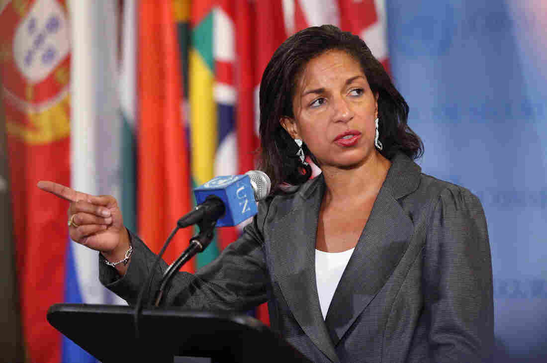 U.S. Ambassador to the United Nations Susan Rice speaks to the media after a U.N. Security Council meeting on Syria on Wednesday.