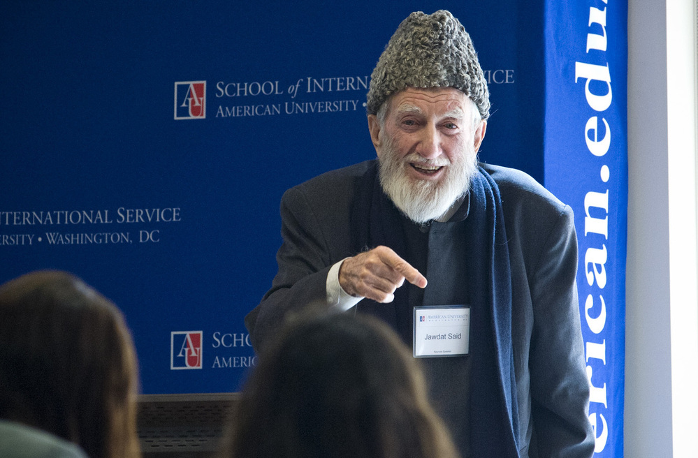 Sheik Jawdat Said, 81, has been urging nonviolent protest in Syria for decades, and has been arrested many times. A scholar and an activist, shown here speaking at American University in Washington in March, he is heading back to Syria this week and plans to resume his call for peaceful opposition to the government.