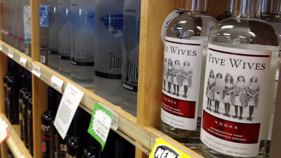 Bottles of Ogden's Own Distillery Five Wives Vodka at a state liquor store in Salt Lake City. (AP)