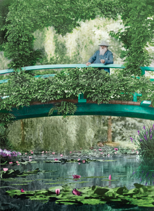 This 1922 colorized photograph shows Monet on the original Japanese footbridge in Giverny.