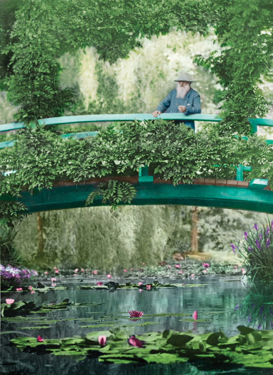 This 1922 colorized photograph shows Monet on the original Japanese footbridge in Giverny. (Courtesy of the New York Botanical Garden)