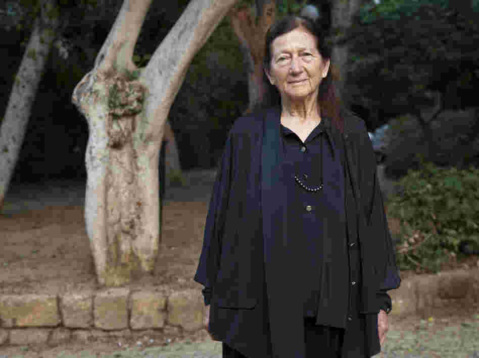 Eva Hoffe, shown here in a garden near her home in Tel Aviv, has Kafka's papers, but has not allowed outsiders to see them.