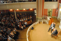 The sold-out interview was held at the 6th & I Historic Synagogue in Washington, D.C.