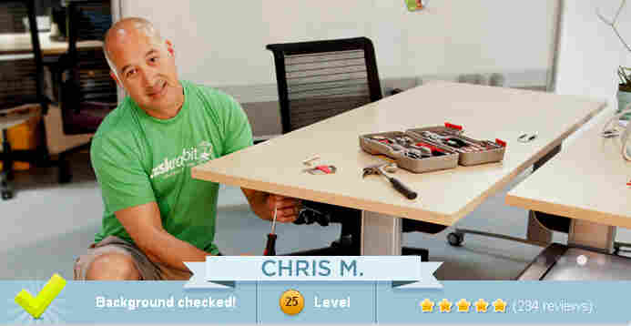 An image from the TaskRabbit website shows one of the company's workers assembling a piece of furniture — a task the site says will pay $45.