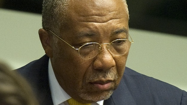 Former Liberian President Charles Taylor during his sentencing today in The Hague. (AFP/Getty Images)