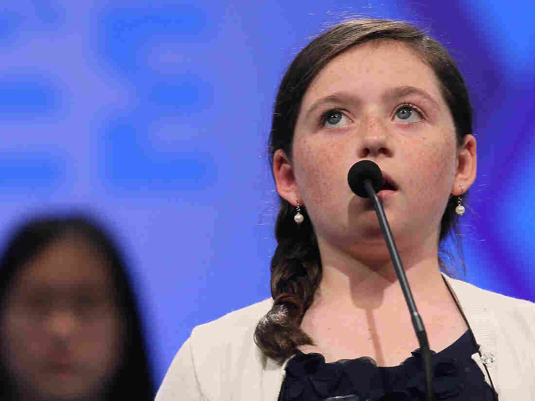 Kitty Shortt spells a word correctly during the third round of the 2012 Scripps National Spelling Bee yesterday.
