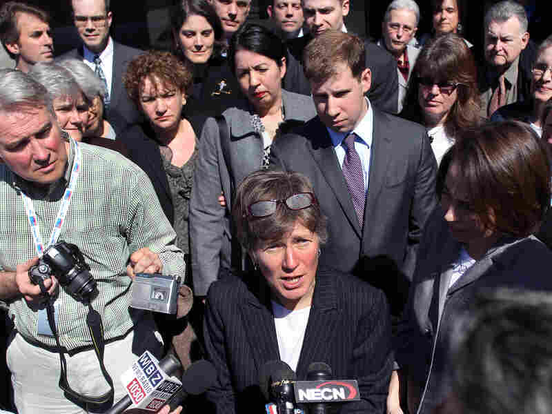 Mary Bonauto, the lawyer for the couples who challenged the Defense of Marriage Act, addresses the media after a hearing at the U.S. Court of Appeals on April 4 in Boston.