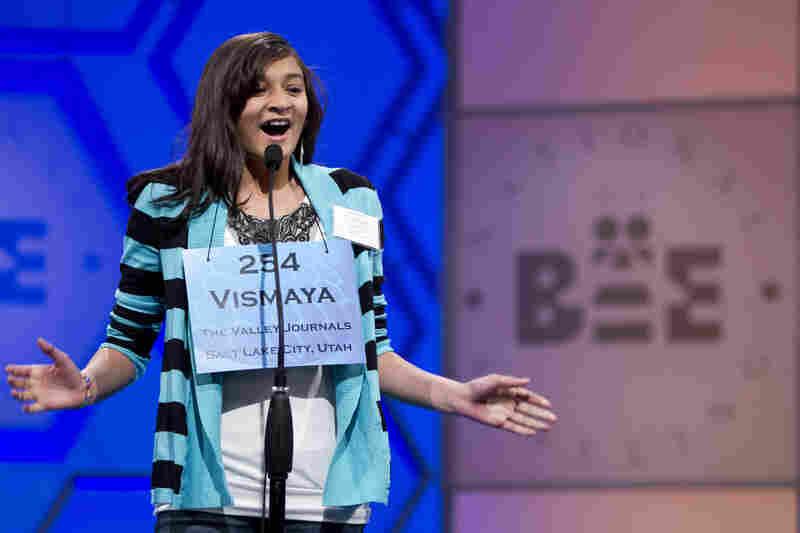 "Vismaya Kharkar, 13, of Bountiful, Utah, is jubilant after spelling ""allothogenic"" correctly."
