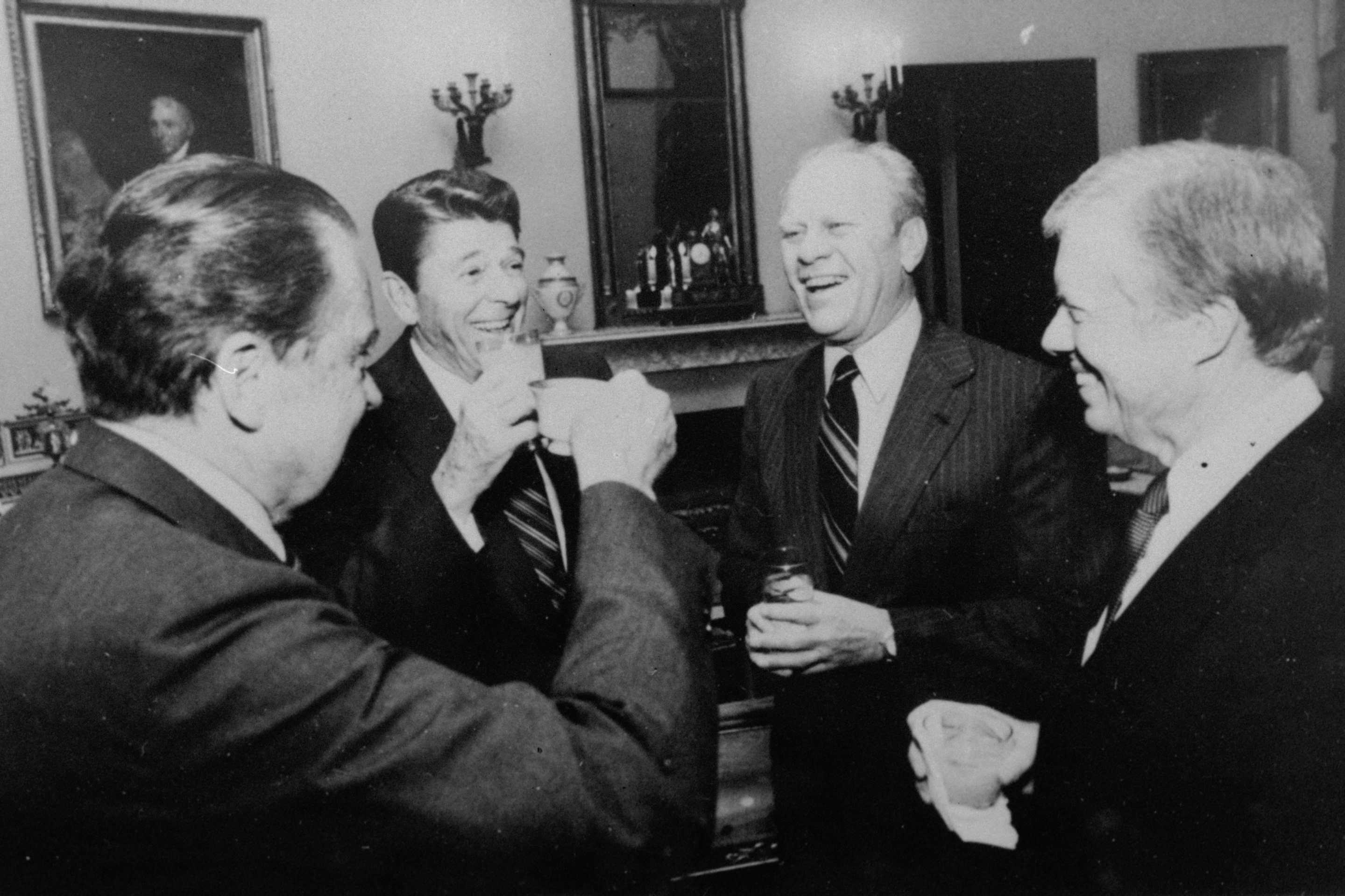 President Ronald Reagan and former Presidents Richard Nixon, Gerald Ford, and Jimmy Carter, offer a toast at the White House on Oct. 8, 1981 as the four met prior to the departure of the three former Presidents to Cairo for the funeral of President Sadat.