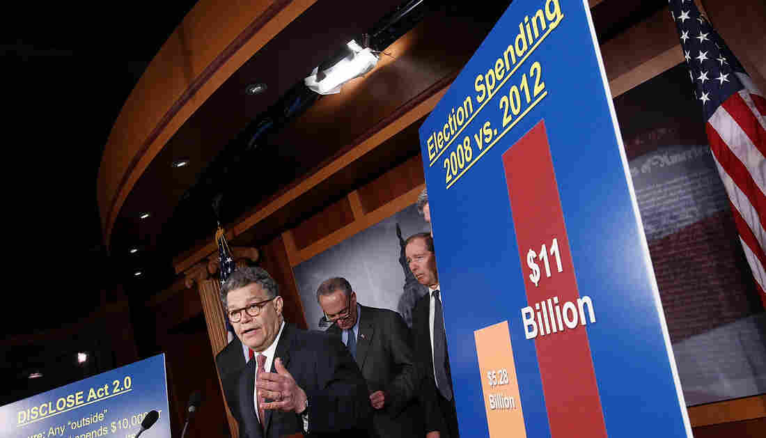 """Al Franken of Minnesota was part of a group of Democratic senators at a March news conference announcing legislation """"to blunt the worst effects"""" of the Supreme Court decision that paved the way for the rise of superPACs."""